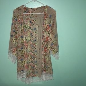 Flower Cardigan with Lace Detail
